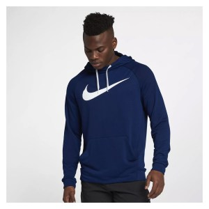 Nike Dry Training Hoodie Blue Void-White