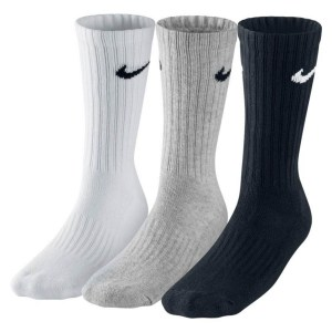 Nike 3 PACK VALUE COTTON CREW TRAINING SOCKS Grey Heather-Black-White-Bl